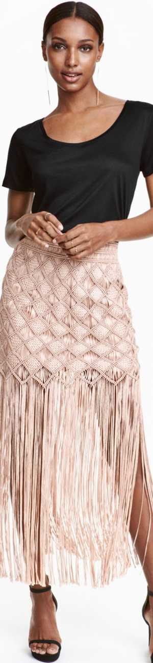 H&M Macramé Skirt with Fringe