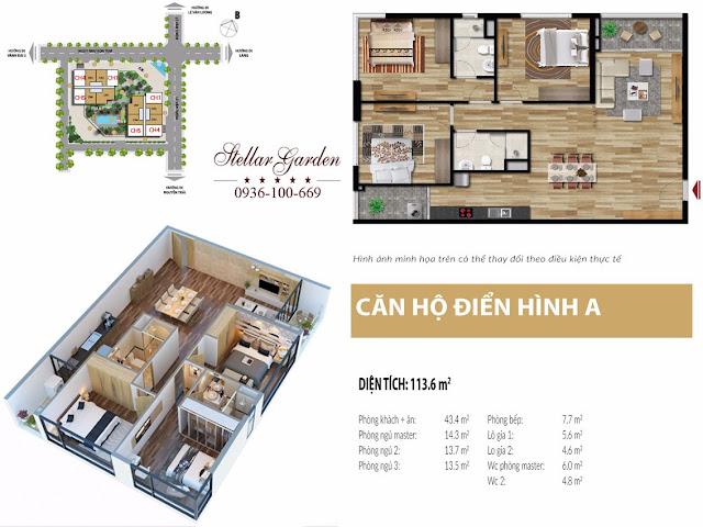 Mặt bằng căn hộ 113,6m2 Chung cư Stellar Garden 35 Lê Văn Thiêm