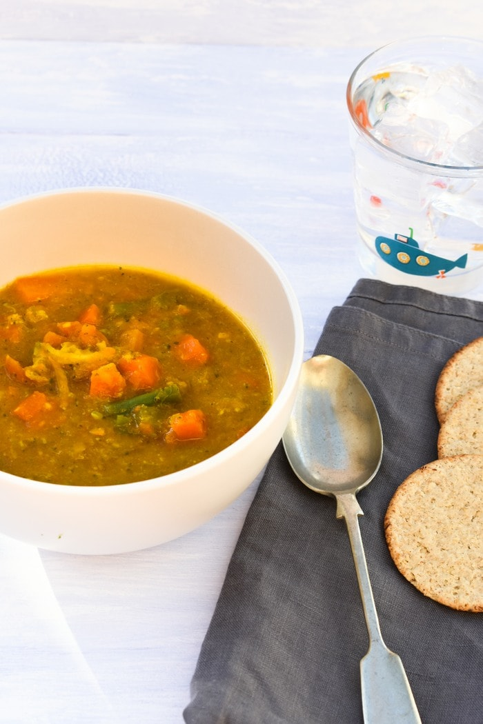 Close up of Easy Carrot & Mixed Vegetable Soup