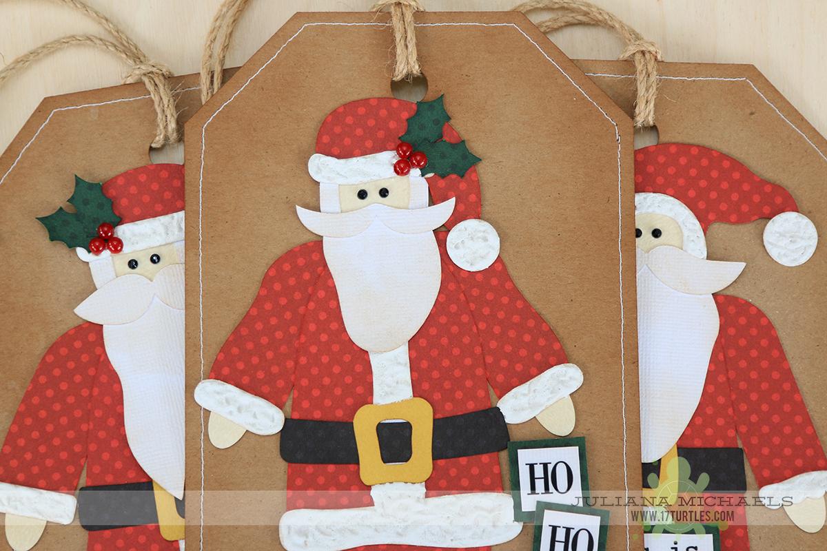 Santa Gift Tags and Paper Piecing using 17turtles Digital Cut Files by Juliana Michaels