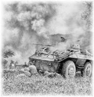 A French M-8 Greyhound of Groupe Mobile 100 during an engagement against the Viet-Minh.