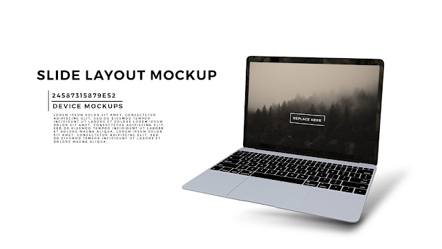 Perspective Silver Macbook Screen Mockup PowerPoint Template
