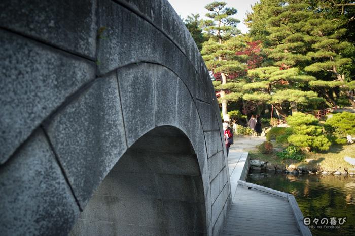 Pont kokô-kyô, détail, jardin shukkei-en, Hiroshima-shi