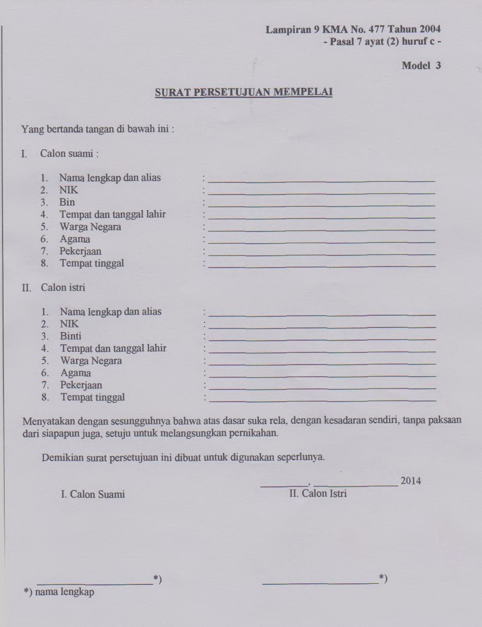 Kua Ngoro Blangko Persyaratan Pendaftaran Nikah