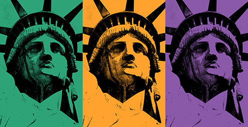 lady liberty illustration statue of liberty vector new york city por art graphic design art photoshop inkscape free estatua de la libertad nueva dibujo drawing estilo andy warhol style colors naranja verde violeta colores secundarios triada tryad color