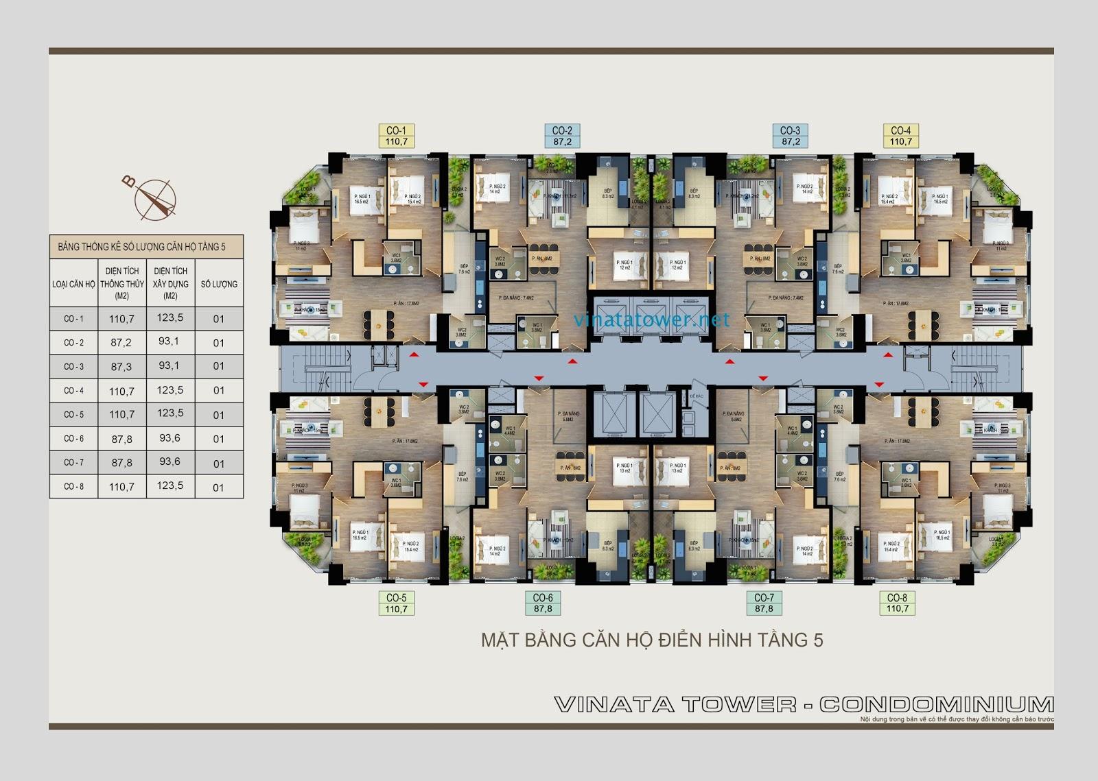 Mặt bằng tầng 5 chung cư Vinata Towers
