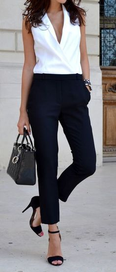 white and black office outfit idea / bag + v-neck shirt + pants + heels