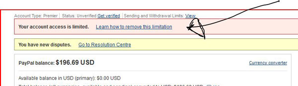 Paypal account is limited how to resolve : Percentage chart
