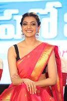Kajal Aggarwal in Red Saree Sleeveless Black Blouse Choli at Santosham awards 2017 curtain raiser press meet 02.08.2017 054.JPG