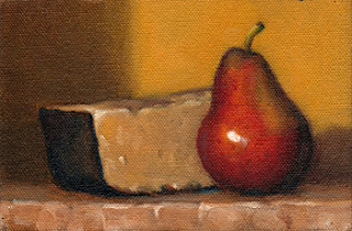 Oil painting of a Corella pear beside a portion of Parmesan cheese.