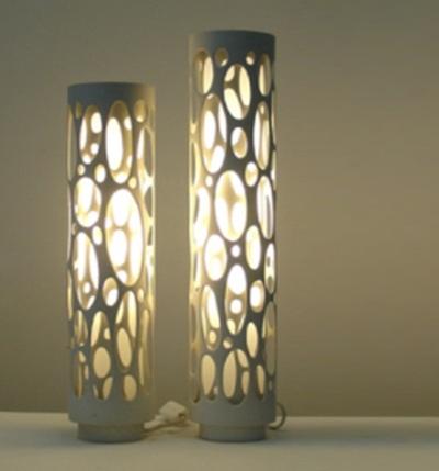 Pipa PVC (paralon) dibuat menjadi kap lampu hias