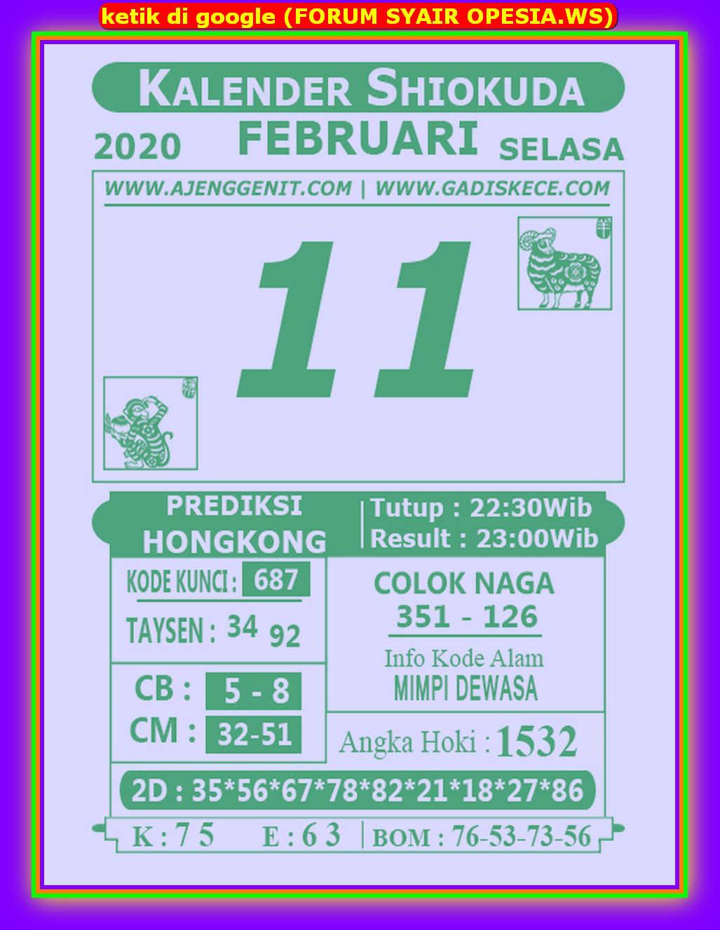 Kode syair Hongkong Selasa 11 Februari 2020 143