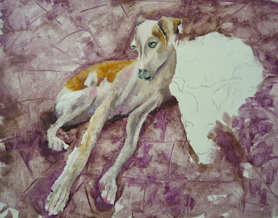 two greyhounds, a painting, work-in-progress