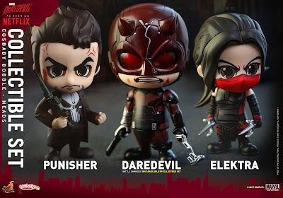 Marvel's Daredevil Cosbaby Mini Figure Series by Hot Toys - Daredevil, The Punisher & Elektra