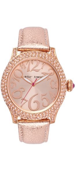 Betsey Johnson Women's Metallic Rose Leather Strap Watch