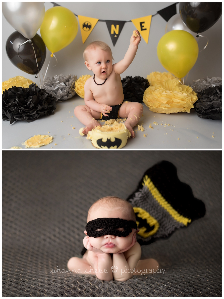 eugene oregon baby photographer batman cake smash