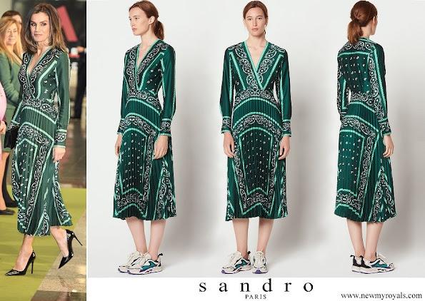 Queen Letizia wore a scarf print dress by Sandro Paris