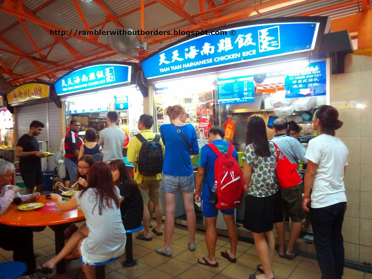 Queue outside Tian Tian Hainan Chicken Rice, Maxwell Road Food Centre, Singapore