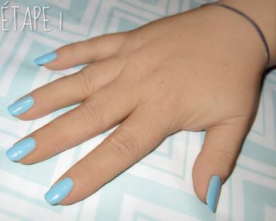 Étape 1 du dégradé en nail art en 4 étapes.