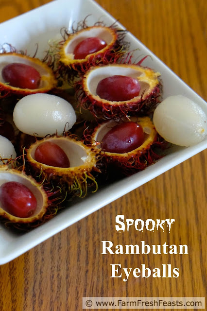 Want ideas for healthy real food Halloween treats? I've got some! Let's start with Spooky Rambutan Eyeballs, with fresh grapes and juicy rambutan in a freaky display.