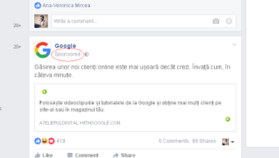 reclamă la Google pe Facebook