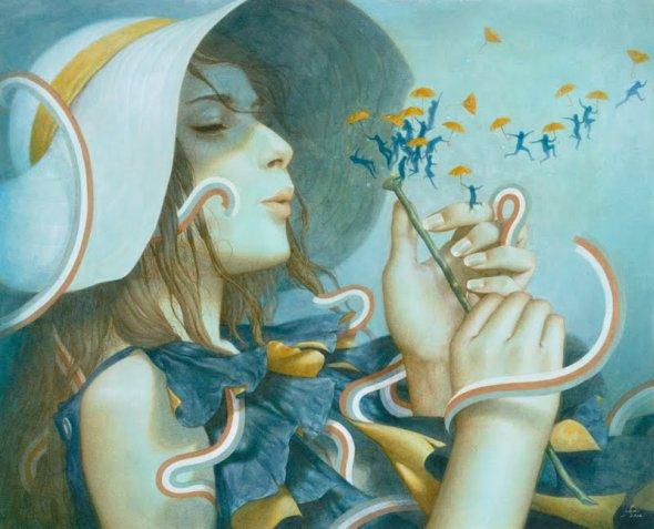 Tran Nguyen deviantart pinturas ilustrações tradicionais surreais fantasia sonhos mulheres feminilidade