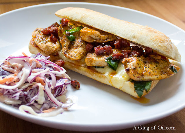 Ciabatta with Chicken Chorizo Red Pepper and Melted Cheese