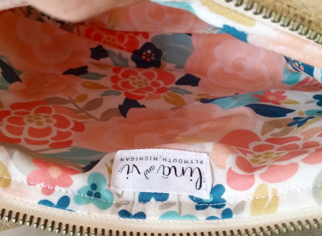 Custom Coral Burlap Cosmetic Bags - Lina and Vi - Pretty Floral Spoonflower Fabric