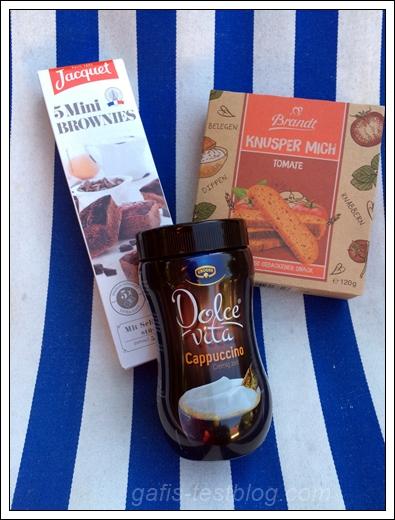 Jacquet Mini Brownies, Brandt Knusper mich Tomate und Krüger Dolce Vita Cappuccino