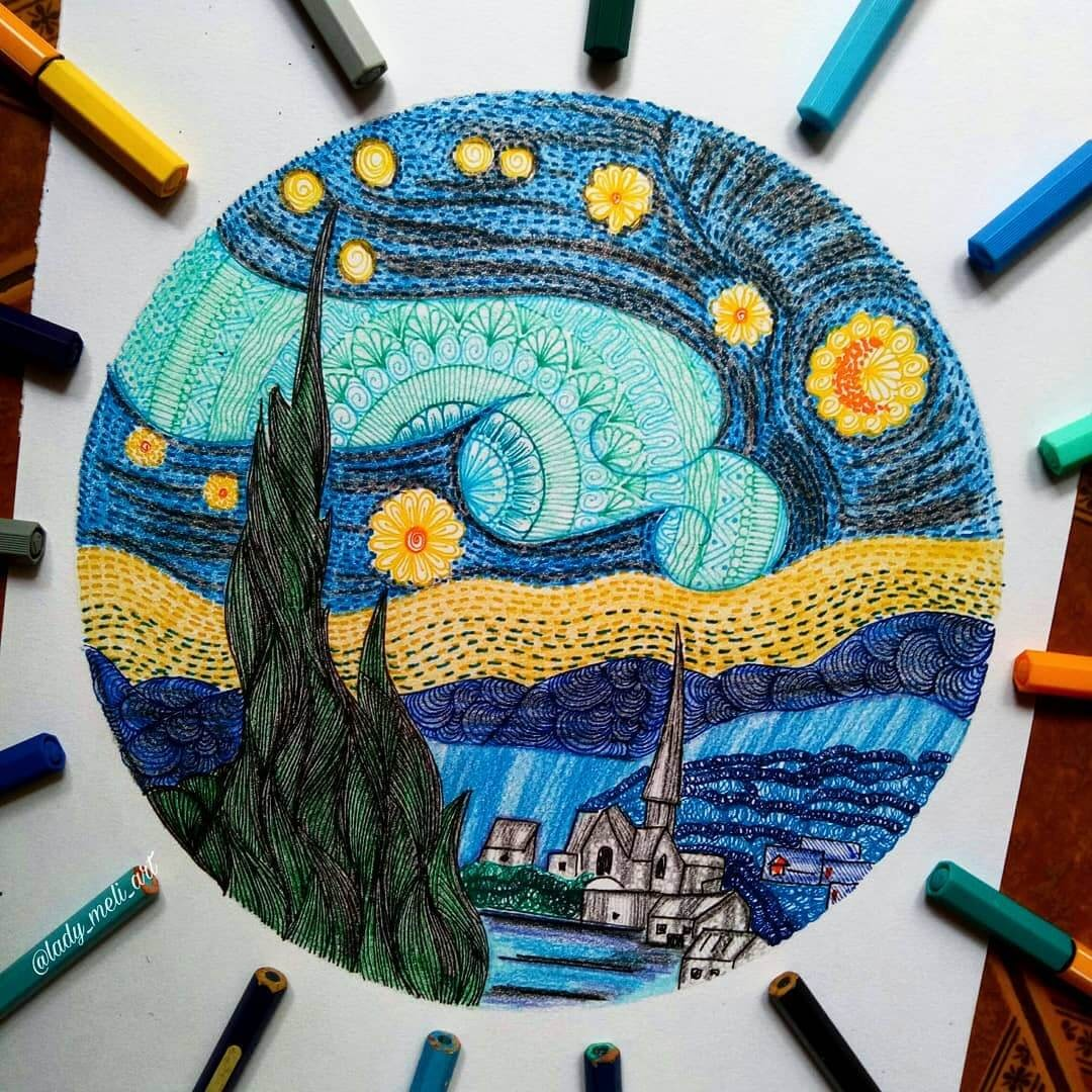 13-The-Starry-Night-lady-meli-art-Colored-Pens-and-Geometric-Mandalas-Zentangles-Doodles-www-designstack-co