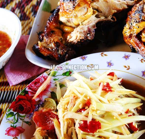 Lao food - BBQ chicken and papaya salad