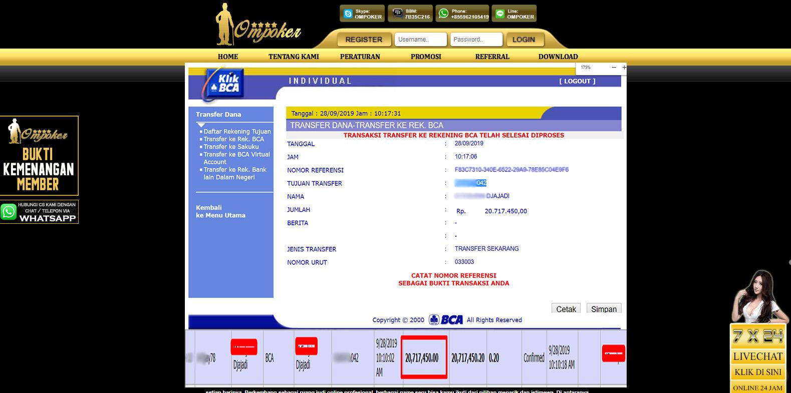 Selamat Kepada Member Setia Ompoker WD Rp 20.717.450