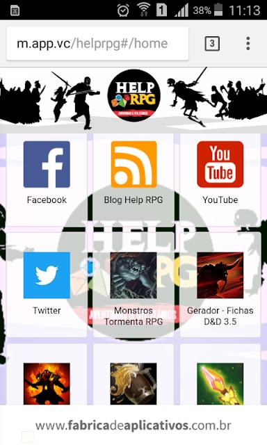 Interface do aplicativo do Help RPG dentro de um dispositivo móvel.