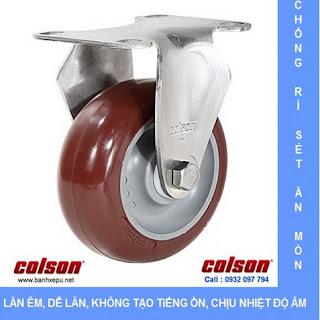 Bánh xe PU đỏ càng bánh xe inox 304 | 2-3308SS-944 | bánh xe nhựa PU