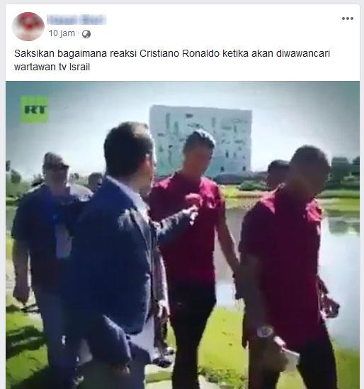 Ronaldo buang mic wartawan Israel (Facebook)