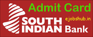 South Indian Bank PO Clerk Admit Card