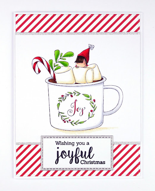 CAS Christmas card with hot chocolate mug (image is Teeny Tiny Townie Hot Chocolate by Stamping Bella)