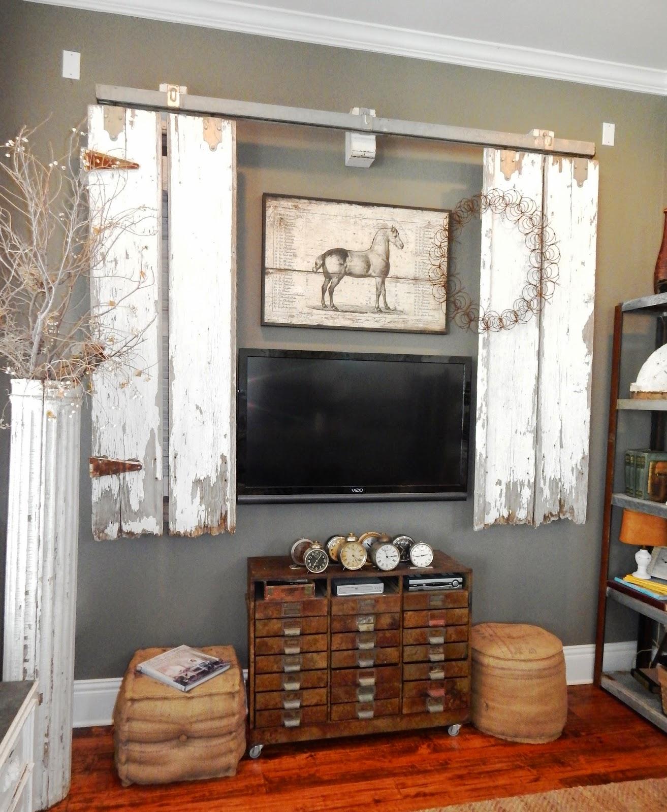 Farmhouse Sliding Door Wall: My Romantic Prairie Home: Barn Doors In The Den