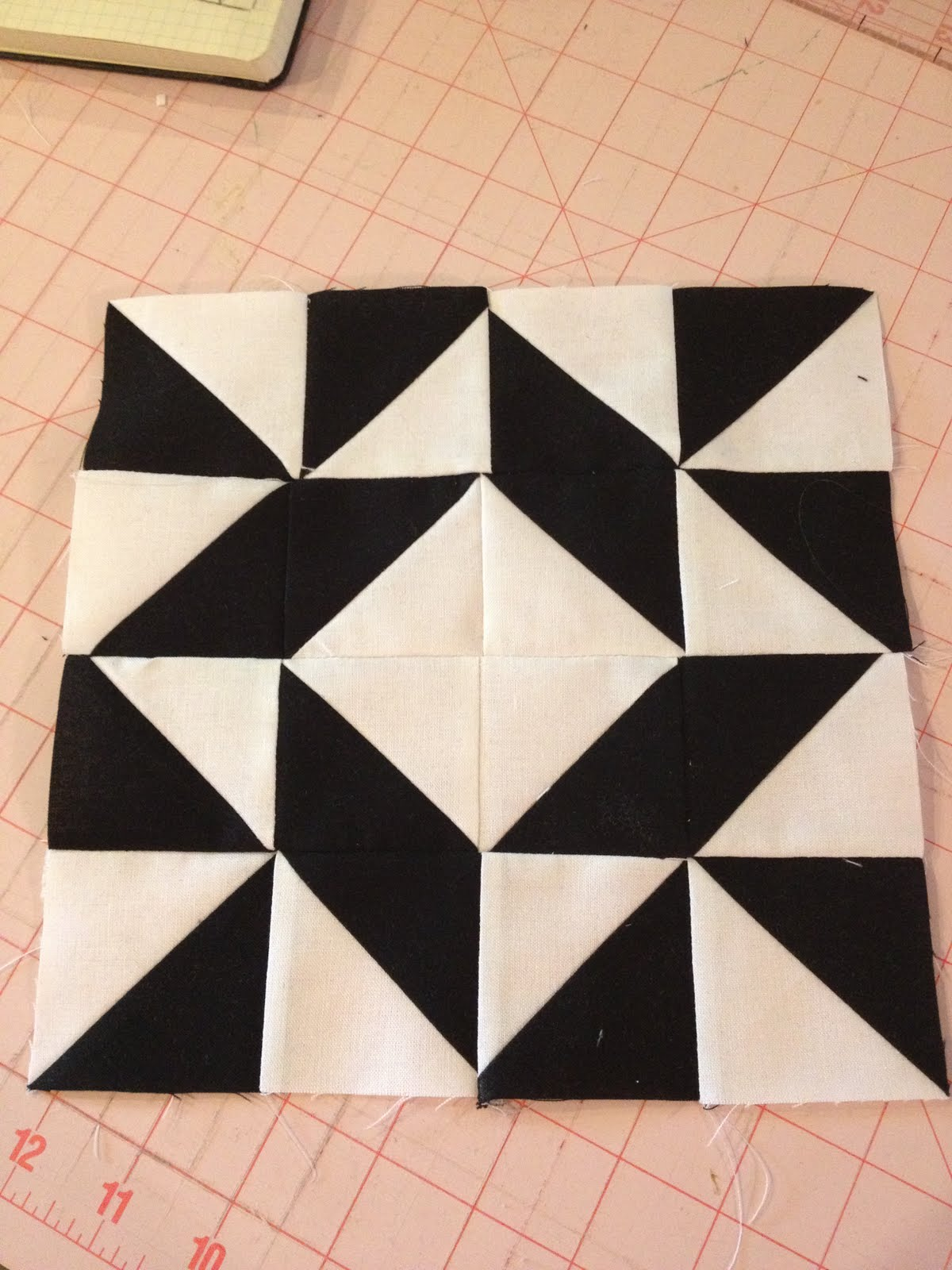 Knit N Lit Modern Half Square Triangle Quilt A Long Block 6