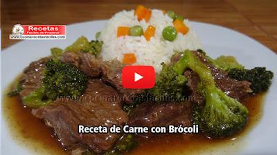 Receta de carne de res  con brócoli.  Una receta casera muy saludable, fácil de preparar y con un sabor delicioso .