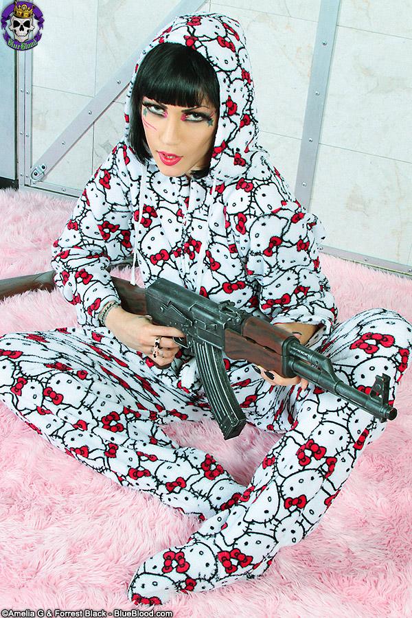 Goth fetish porn star Asphyxia Noir in Hello Kitty onesie