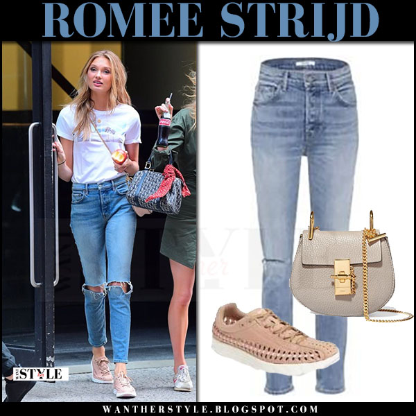 Romee Strijd in white t-shirt woven sneakers nike and ripped jeans grlfrnd karolina what she wore june 21 2017