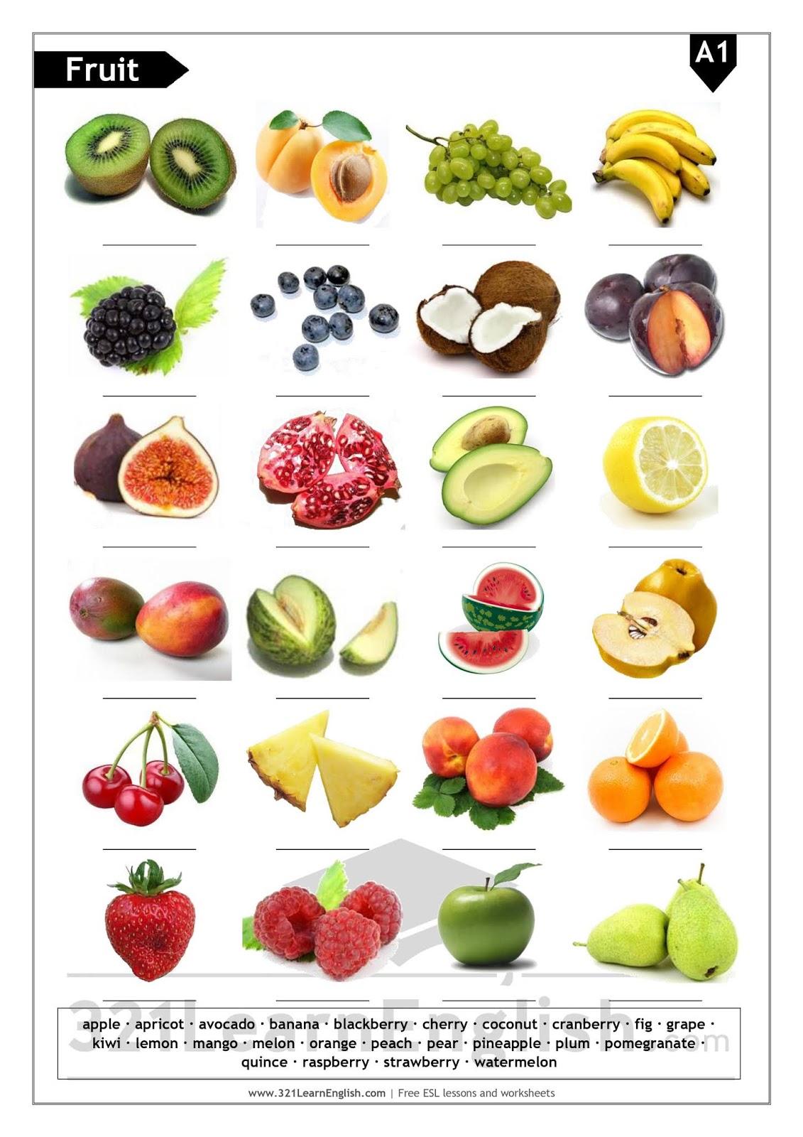 321 Learn English Esl Vocabulary Fruit Basic