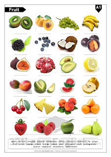 Download a worksheet / handout with ESL vocabulary about fruit (basic) (level: A1) - picture dictionary and pictures with blanks - www.321LearnEnglish.com