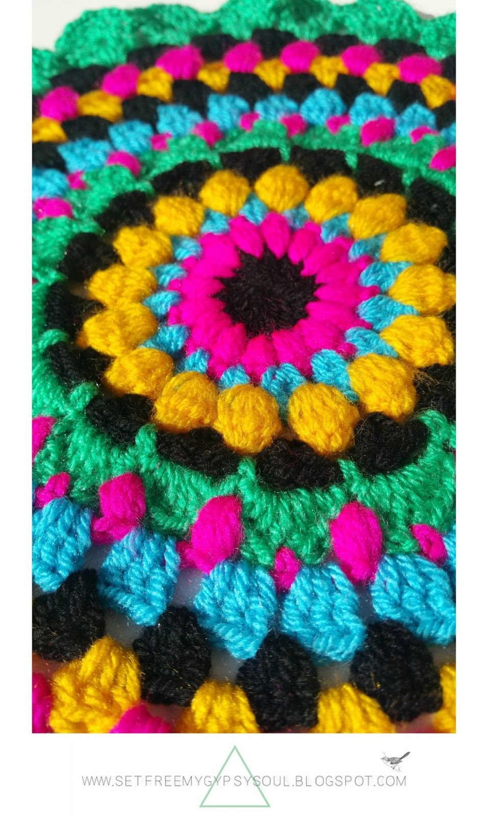 free crochet pattern mandala bohemian bright boho bobble treble puff stitch colour colorful