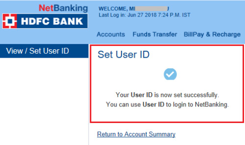 how to change customer id in hdfc bank