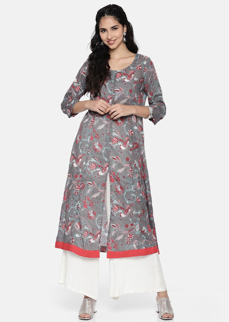Front Slit Grey Cotton Kurti