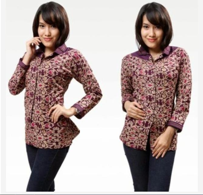 Batik Baju Kerja Wanita: Model Baju Batik Wanita Lengan Panjang Untuk Kerja