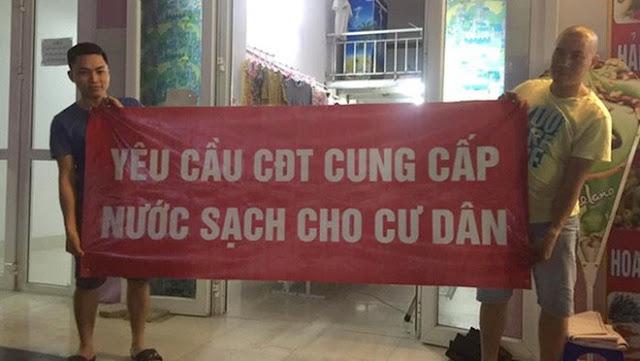 Cư dân Thanh Hà Cienco 5 treo băng rôn