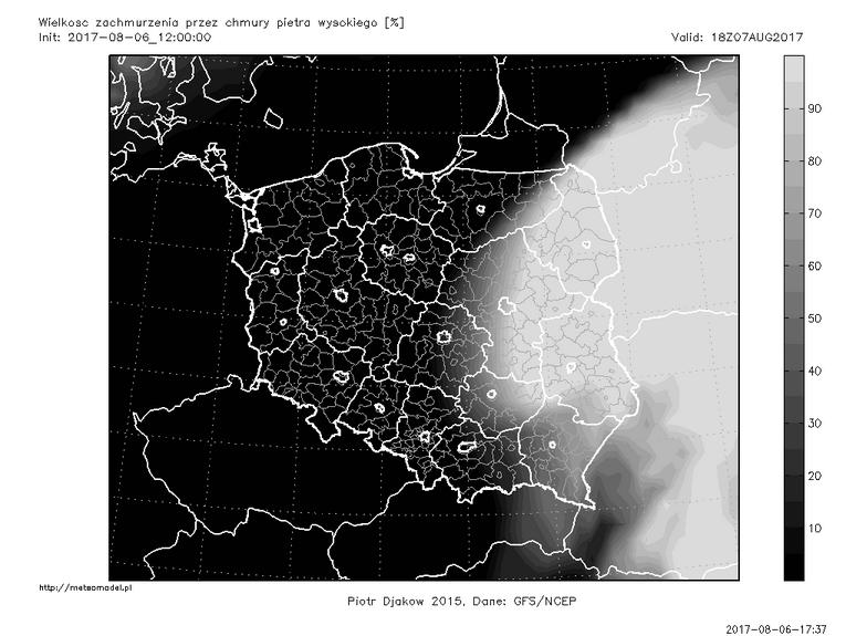 Ostatnia przed publikacją tekstu prognoza modelu GFS - zachmurzenie piętra wysokiego 7 sierpnia o godz. 18:00 CEST. Źródło: meteomodel.pl